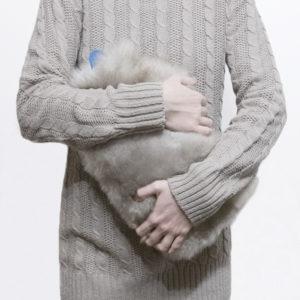 Lammfell wärmflasche - grau